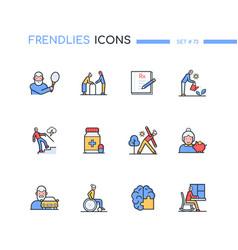 Senior people - line design style icons set vector