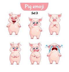 set of cute pig characters set 3 vector image