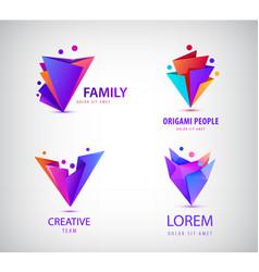 Set of origami 3d men men logos family vector