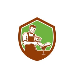Shoemaker With Hammer Shoe Shield Retro vector