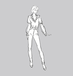 Sketch of girl in jeans and blouse vector