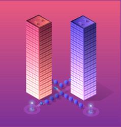 smart city of ultraviolet vector image