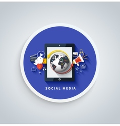 Social media concept Cloud of application icons vector image