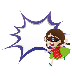 Splash border template with girl in hero outfit vector