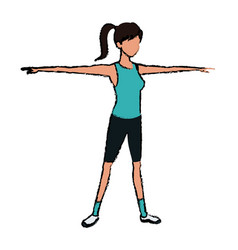 Sport girl open arms athletic fitness image vector