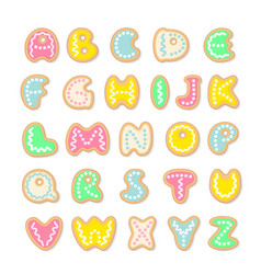 tasty alphabet set of cookies letters vector image