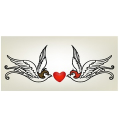 Tattoo swallow heart vector