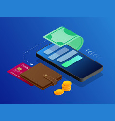 The concept of electronic bills online payment vector