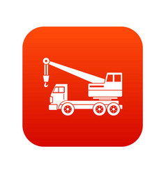 Truck crane icon digital red vector