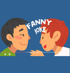 two men bloggers telling funny jokes online vector image