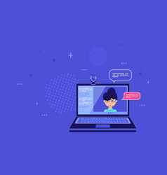 Video call concept banner design in flat style vector