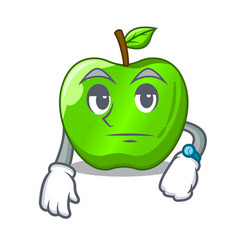 Waiting green smith apple isolated on cartoon vector