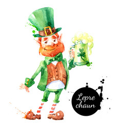 watercolor hand drawn leprechaun character vector image