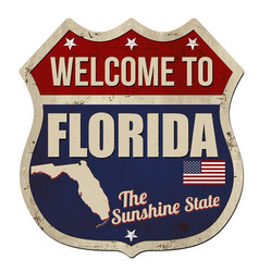 Welcome to florida vintage rusty metal sign vector