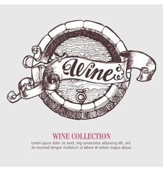 Wine or beer barrel with ribbon banner vector