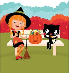 Witch of and her cat vector image