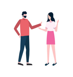Woman and man on meeting people talking vector