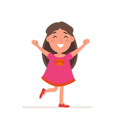 Young girl in red dress with big bow poses flat vector