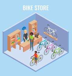 3d isometric bike shop concept vector image vector image