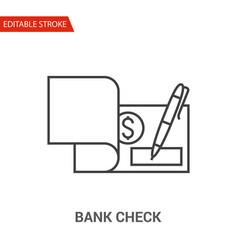 bank check icon thin line vector image