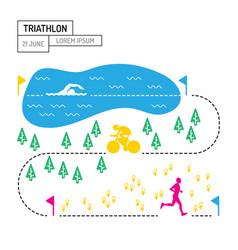 map sport triathlon vector image vector image