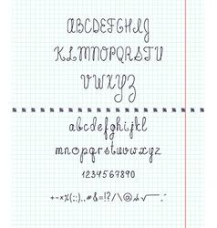 Set capital English handwriting font on paper Font vector image
