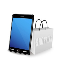 smart phone and shopping bag vector image vector image