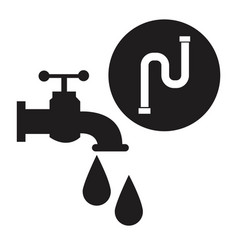 black silhouette house faucet with drops and inco vector image