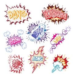Boom Comic book explosion set vector image vector image