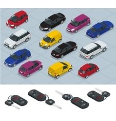 Car and Car keys icons Car keys Flat 3d vector image vector image