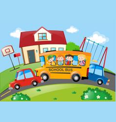 Children riding on school bus vector