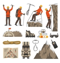 Climbing Hiking Mountaineering Icons vector image vector image