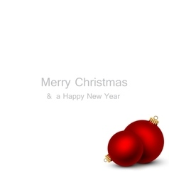 Greeting card with red Christmas balls vector image