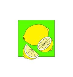 lemon on green field art vector image vector image