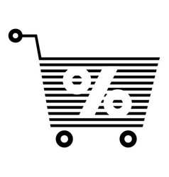 percent trolley icon simple black style vector image