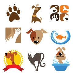 pet shop logo and icons vector image