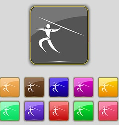 Summer sports Javelin throw icon sign Set with vector image