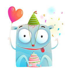 cheerful monster party with birthday cake vector image