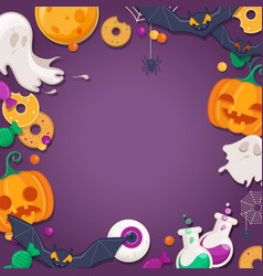 halloween background with cartoon characters vector image