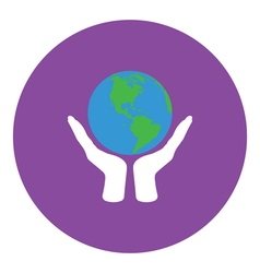 Hands holding planet icon vector image vector image
