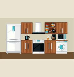 kitchen interior template vector image