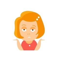 Little Red Head Girl In Red Dress Upset Flat vector image