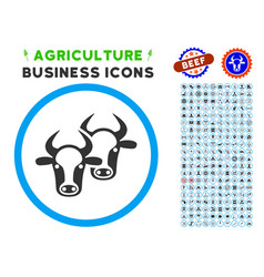 livestock rounded icon with set vector image
