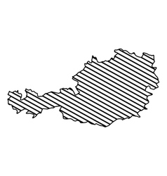 silhouette monochrome map of austria with striped vector image
