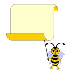 A funny cartoon bee with a big blank paper vector image vector image