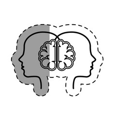 brain human with profile creative icon vector image