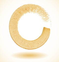 Gold paintbrush circle frame vector image vector image