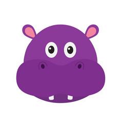 hippopotamus head face cute cartoon character vector image