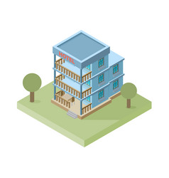 isometric hotel building icon vector image vector image