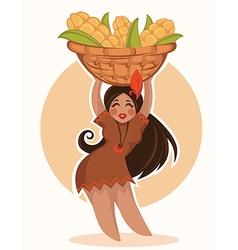 thanksgiving girl vector image